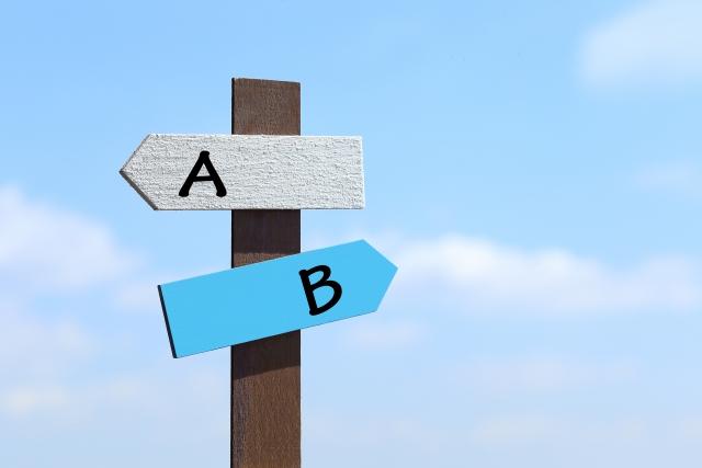 二者択一を示す標識の写真